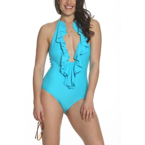 Sun and Sea Solid As A Rock Junior Halter Deep V Ruffle One Piece