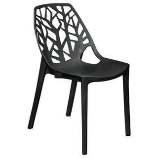 LeisureMod Modern Flora Black Cut-out Dining Side Chair - N/A