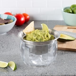 Cold Dip Bowl-Chilled Serving Dish with Ice Chamber For Dip, Hummus, Dressing, Salsa, Guacamole, and More by Classic Cuisine