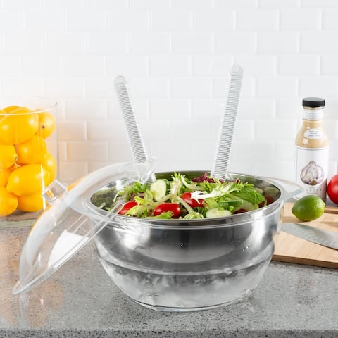 Salad Bowl with Lid and Utensils-5PC Cold Serving Dish Set with Ice Chamber-For Chilled Pasta, Fruit and More by Classic Cuisine