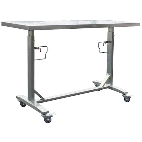 Stainless Steel Adjustable Height Work Table W/ Locking Casters