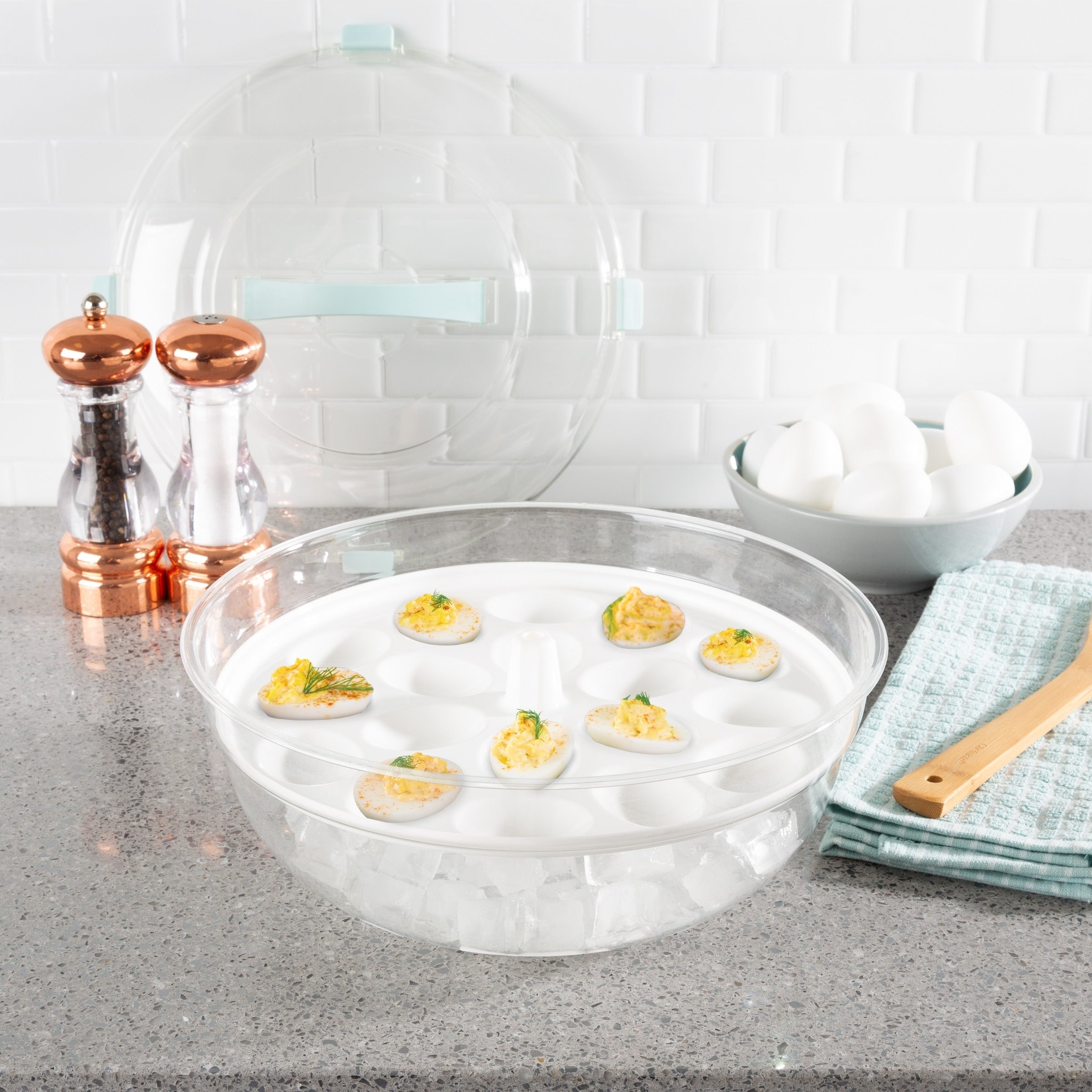 Cold Appetizer Tray 4 In 1 Platter With Ice Compartment Lid Bowl Deviled Egg 3 Section Carrier Dish By Classic Cuisine Overstock 25436739