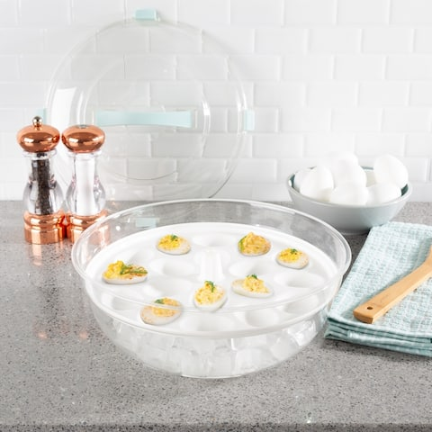 Cold Appetizer Tray-4-in-1 Platter with Ice Compartment, Lid Bowl, Deviled Egg, 3 Section Carrier Dish by Classic Cuisine