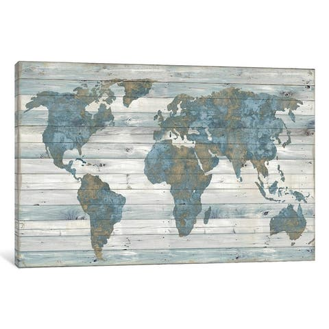 iCanvas ''World Map On Wood'' by Janie Macdowell