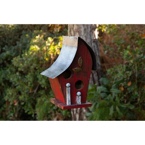 Alpine Red Artful Wooden Birdhouse, 12 Inch Tall