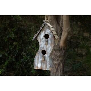 Alpine White Swirly Wooden Birdhouse, 16 Inch Tall