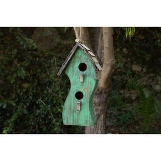 Alpine Green Swirly Wooden Birdhouse, 16 Inch Tall