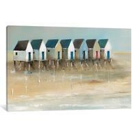 iCanvas ''Beach Cabins I'' by Jean Jauneau