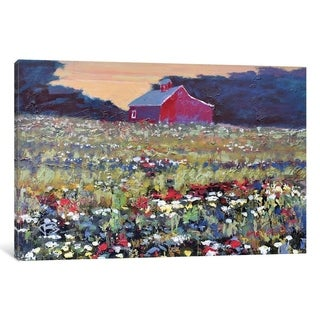 iCanvas ''Red Barn And Flowers'' by Kip Decker