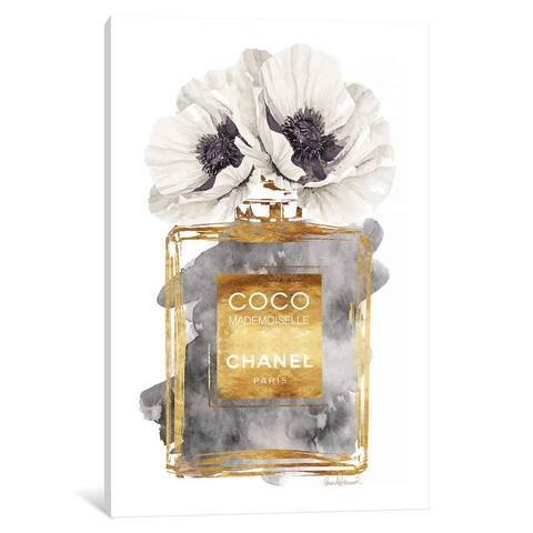 iCanvas ''Gold Perfume Bottle, Grey & White Poppy'', Amanda Greenwood
