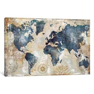 iCanvas ''World Map Indigo'' by Xander Blue
