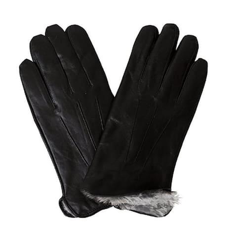 Mens Leather Gloves Fake Fur Lined