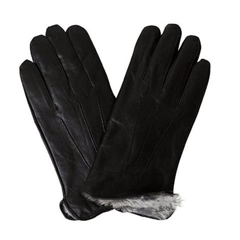 Mens Leather Gloves Fake Fur Lined