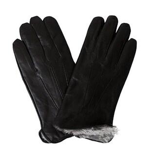 Mens Black Leather Gloves Fake Fur Lined