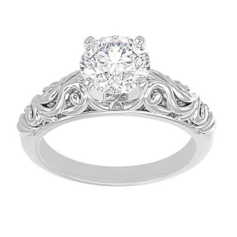 14K White Gold Vintage Diamond Solitaire Engagement Ring - Round 3/4 CTTW - IGI Certified
