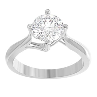 14K White Gold Diamond Solitaire Engagement Ring North South East West Round 1 2 CTTW IGI Certified