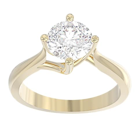 14K Yellow Gold Diamond Solitaire Engagement Ring - North-South-East-West Round 1/2 CTTW - IGI Certified