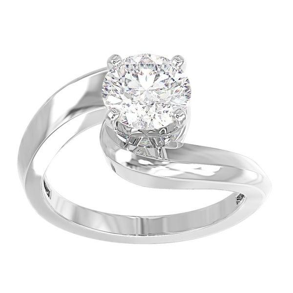 eba5800e92a452 14K White Gold Diamond Twist Solitaire Engagement Ring - Round 1/2 CTTW -  IGI