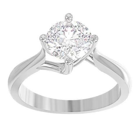 14K White Gold Diamond Solitaire Engagement Ring - North-South-East-West Round 1/2 CTTW - IGI Certified