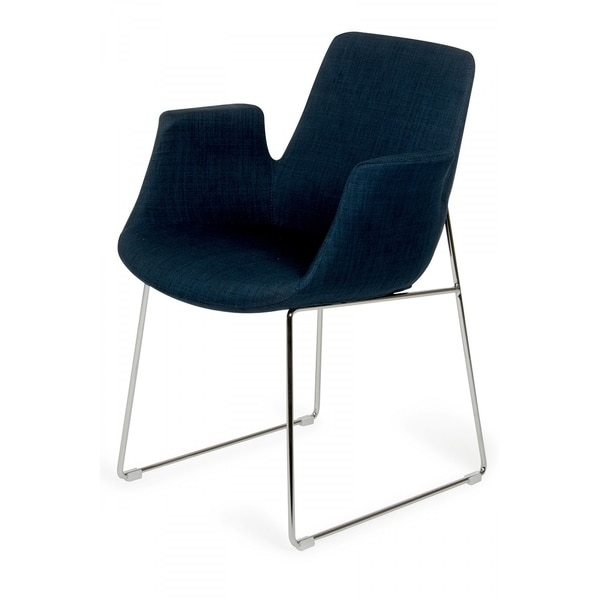 Modrest Altair Mid-Century Blue Fabric Dining Chair
