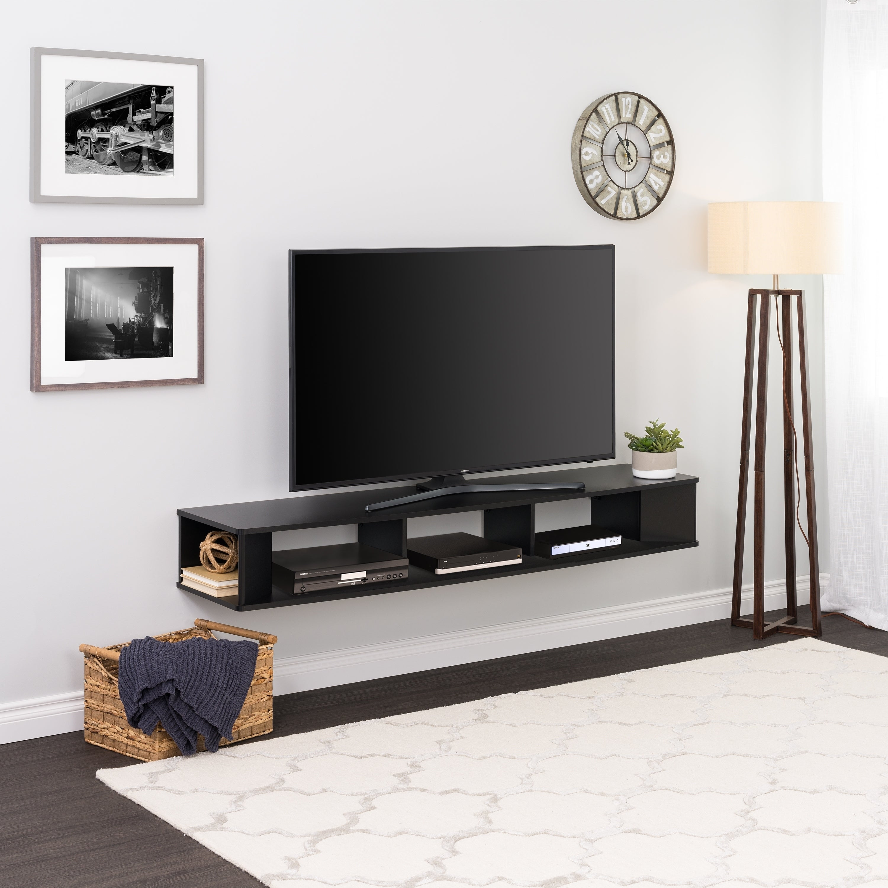 Floating Led Tv Stand Wall Mount Entertainment Console Cabinet Furniture Black