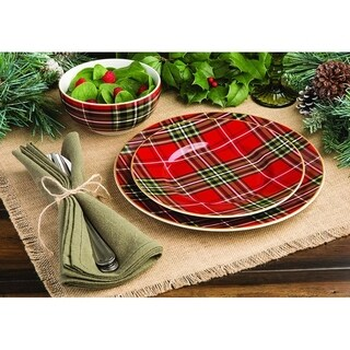 Wexford Plaid 12 Piece Dinnerware Set