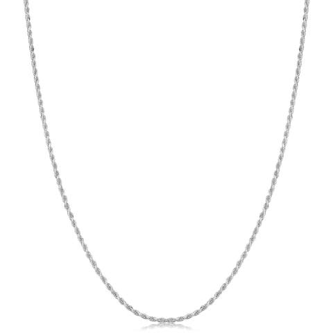 Sterling Silver Diamond Cut Rope Necklace 14-30inches (1.1 millimeters)