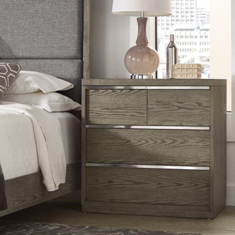 Copper Grove Kelcyre Antique Grey Oak Veneer 4-drawer Chest with Outlet/USB