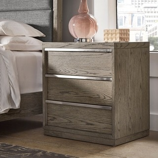 Copper Grove Kelcyre Antique Grey Oak Veneer Night Stand with In-drawer Outlet/USB
