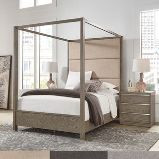 Wallace Antique Grey Oak Veneer Upholstered Canopy Bed by iNSPIRE Q Artisan