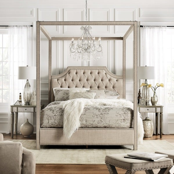 11838fcf505f Shop Gatlyn Tufted Linen Nailhead Canopy Bed by iNSPIRE Q Bold - On ...