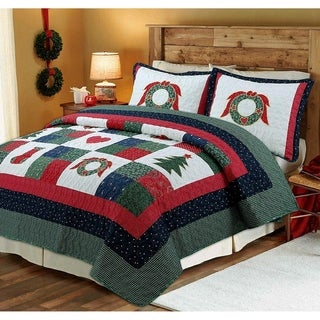 Link to Cozy Line Merry Christmas Cotton Reversible Quilt Set Similar Items in Blankets & Throws