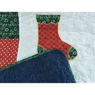 Cozy Line Happy Christmas Cotton Reversible Quilt Set