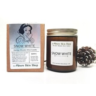 Handmade Snow White Wood Wick Soy Candle
