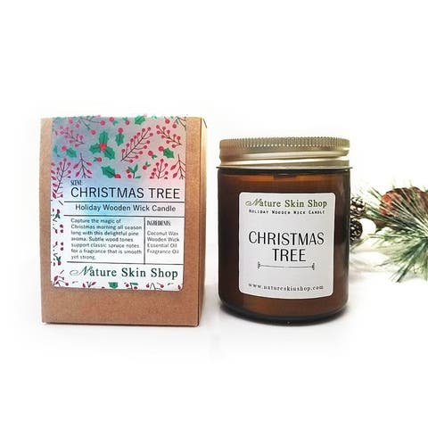 Handmade Christmas Tree Wood Wick Soy Candle