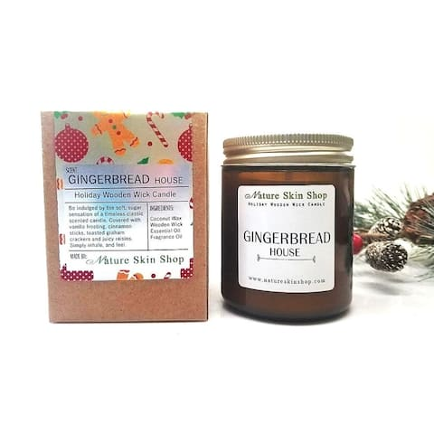 Handmade Gingerbread House Wood Wick Soy Candle