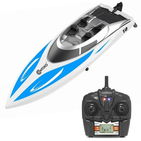 """Contixo T2 14"""" RC Remote Control 2.4 Ghz Racing 20+ MPH RC Speedboat Capsize Recovery For Pools and Lakes"""