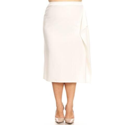 Women's Solid Basic Plus Size Ruffled Detail Skirt