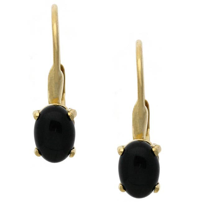 Glitzy Rocks 18k Gold Over Sterling Silver Oval Onyx Earrings