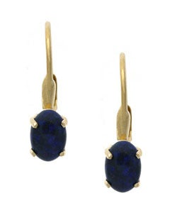 Glitzy Rocks 18k Gold over Sterling Silver Oval Azurite Earrings