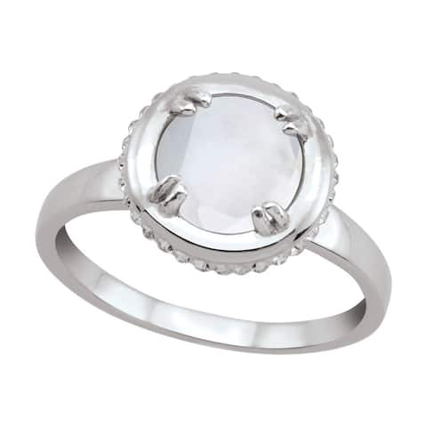 Sterling Silver Round Quartz Over Mother-Of-Pearl Doublet Cubic Zirconia Ring