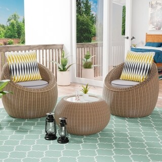 Furniture of America Descartes 3-Piece All Weather Wicker Patio Chair Set