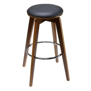 "Cortesi Home Draven Barstool with Swivel Seat in Genuine Top Grain Black Leather (Set of 2), 30"" Tall"
