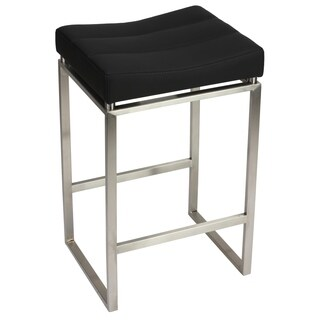 Cortesi Home Isis Brushed Stainless Steel/Black Faux Leather Counter-Height Stool