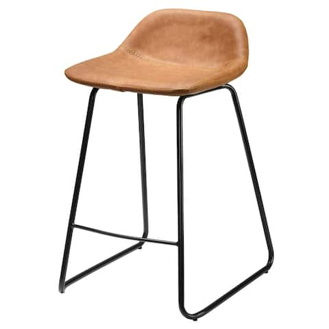 Cortesi Home Ava Counterstools in Saddle Brown faux Leather (Set of 2)
