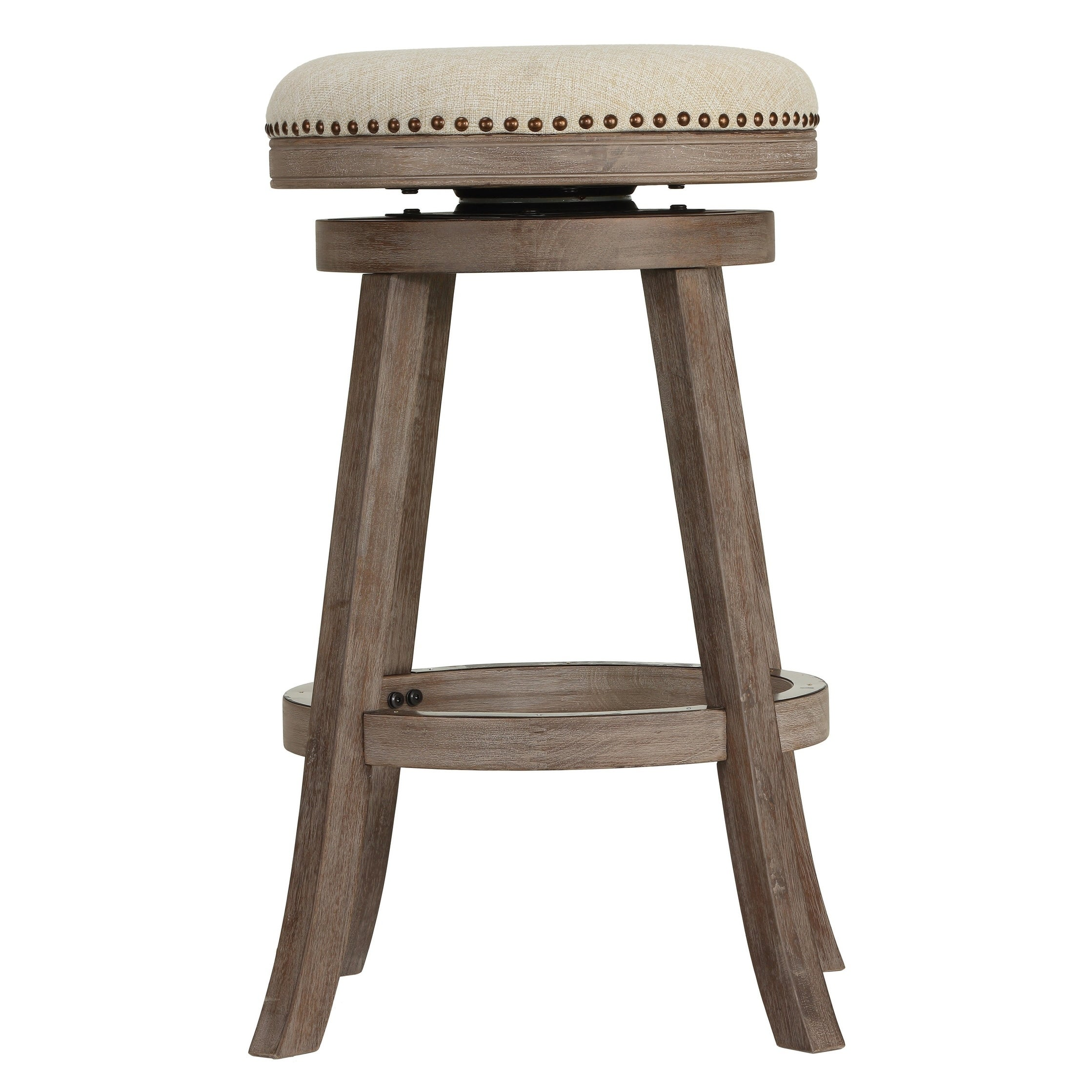Fabulous The Gray Barn Mcniven Backless Swivel Bar Stool In Solid Oak Wood And Beige Fabric Lamtechconsult Wood Chair Design Ideas Lamtechconsultcom
