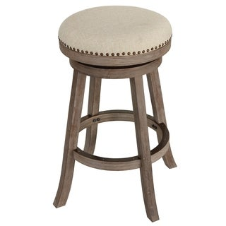 "Cortesi Home Piper Backless Swivel Bar Stool in Solid Oak Wood and Beige Fabric, 30"" H"