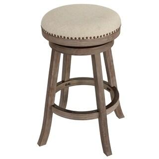 Cortesi Home Piper Beige/Brown Fabric/Oak Wood Backless Swivel Bar Stool