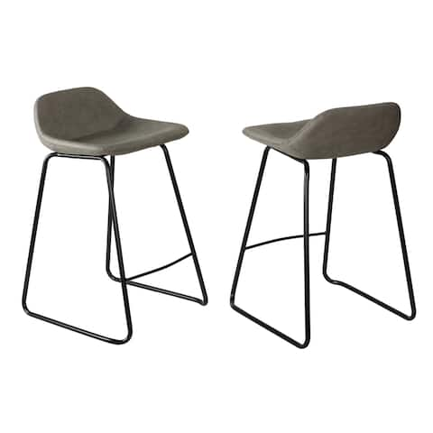 "Cortesi Home Ava Counterstools in Grey Faux Leather (Set of 2) - 24"" seat"