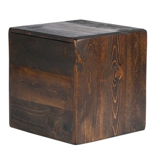Rustic Walnut Storage Cube Ottoman / Side Table (USA)